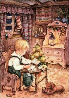 lisi martin is a spanish artist and illustrator famous for her highly detailed and romanticized pictures of children lisi was born in barcelona cata # Happy Merry Christmas, Christmas Scenes, Old Fashioned Christmas, Christmas Past, Christmas Pictures, Winter Christmas, Vintage Christmas Cards, Vintage Cards, Vintage Postcards
