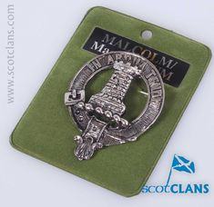 Pewter badge with Malcolm clan crest - from ScotClans
