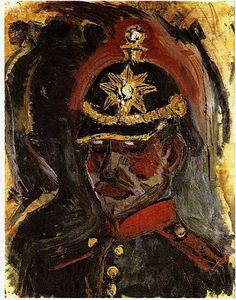 Otto Dix (German 1891–1969) [Expressionism, Neue Sachlichkeit] Self-portrait with a Gunner's Helmet (Selbstbildnis mit Artillerie-Helm), 1914. Municipal Gallery, Stuttgart. [NOTE: I have seen this painting flipped horizontally. I'm not sure which is the correct version.]