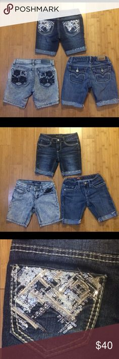 ⬇️ price drop!!! Bundle of pair of girls size 7 denim cutoff shorts. Vanilla Star brand, darker stonewashed with very pretty stitching and sequins on back pockets. Levi's medium color denim has button down back pockets. Vigoss brand are the lightest color and have navy flowers on back pockets and above front left pocket. They are all in excellent condition, barely worn, no stains rips or tears. See pics that show the detail on the pockets. Bottoms Shorts