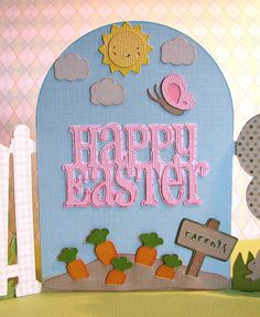 Cricut Easter Card. Inside View. Used  Easter 2010, Freshly Picked and Create a Critter Cartridges.