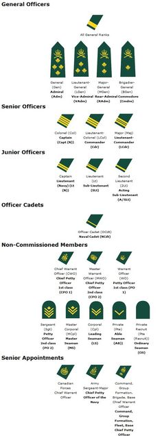 Canadian Military Rank Structure for the Air Force, Navy and Army Insignia - Military Ranks Navy Insignia, Military Insignia, Military Police, Military Service, Military Personnel, Military Uniforms, Military Salute, Royal Canadian Navy, Canadian Army