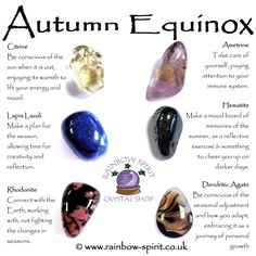 Rainbow Spirit crystal shop's poster guide to crystals for Autumn equinox and seasonal adjustment Crystal Healing Stones, Crystal Magic, Crystal Shop, Crystal Grid, Stones And Crystals, Healing Rocks, Gem Stones, Minerals And Gemstones, Crystals Minerals