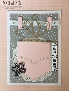 Hello Today I am sharing a card I made with a new stamp set that I won at the SU Onstage in Perth. The stamp set is called Pocketful of . Homemade Greeting Cards, Homemade Cards, Handmade Birthday Cards, Happy Birthday Cards, Scrapbook Paper Crafts, Scrapbook Cards, Gift Cards Money, Pocket Full Of Sunshine, Stampin Up Catalog