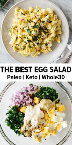 The classic egg salad recipe that can be eaten plain with a fork, turned into a delicious sandwich or made into a veggie-packed collard wrap. With just a handful of ingredients including ha Classic Egg Salad Recipe, Best Egg Salad Recipe, Paleo Egg Salad, Recipe Recipe, Keto Tuna Salad, Easy Egg Salad, Avocado Egg Salad, Keto Pasta Recipe, Whole30 Chicken Salad