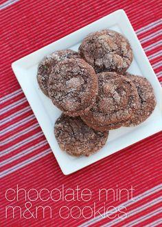 chocolate mint m&m cookies from @Jane Maynard