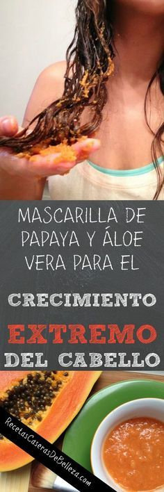 Put this on your hair for extreme hair growth: half a papaya + aloe vera gel (from fresh stalk). Mix in food processor and apply to dry hair. Aloe Vera Hair Growth, Hair Mask For Growth, Aloe Vera For Hair, Hair Remedies For Growth, Hair Growth Tips, Hair Loss Remedies, Aloe Hair, Aloe Vera Hair Mask, Do It Yourself Nails