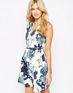Robe courte imprimée fleurs bleurs Oasis - ClicknDress