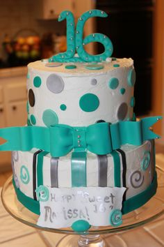 Marissa's Sweet 16 Birthday Cake with Polka Dots and Bow. Aqua and Silver
