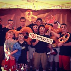 Group having fun in our pretzel photo booth for #NationalPretzelDay April 26, 2013 in #Baltimore. Can't wait until next year!