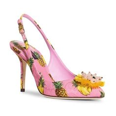 Women's Dolce&gabbana Pineapple Slingback Pump ($875) ❤ liked on Polyvore featuring shoes, pumps, pink multi, slingback shoes, pink slingbacks, pink shoes, sling back shoes and dolce gabbana pumps
