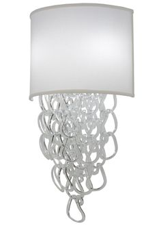15 Inch W Lucy Led Wall Sconce. 15 Inch W Lucy Led Wall SconceAn elegant contemporary look. Uniquely formed Clearglass hoops custom crafted and interlocked into anenticing, intricate design. Enhanced with a curvedCream fabric shade and Beige finished backplate. Thesconce accommodates two 12-watt medium base A19 LEd lamps. Other lamping options also available. Theme:  CONTEMPORARY Product Family:  Lucy Product Type:  WALL SCONCES Product Application:  LED -- ONE LIGHT Color:...