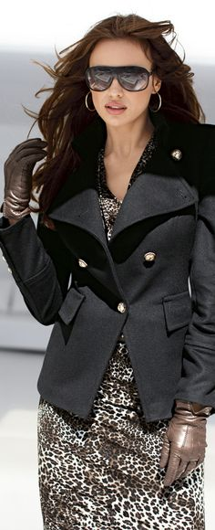 sharp! love the animal print and gloves...and jacket