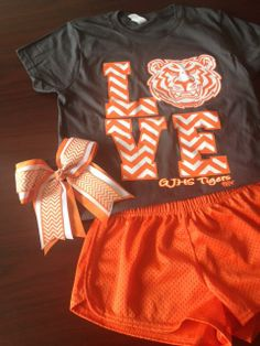 Complete camp outfit for Guymon Central - complete with tee with design, short and bow - under $40 - Check out the cool chevron print on the tee and bow!