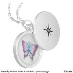 Butterfly Medium Silver Plated Round Locket