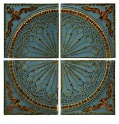 "IMAX Home 12468 15.75"" Blue Quarter Medallion - Set of 4 Home Decor Wall Decor Metal Art"