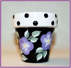 Lavender and Polka Dot Hand Painted Flower Pot by This is a three and a half inch flower pot painted with a lavender flowers and polka dots all around. The pot is hand painted then coated with a high gloss finish. Flower Pot Art, Flower Pot Design, Flower Pot Crafts, Clay Pot Crafts, Painted Plant Pots, Painted Flower Pots, Potted Lavender, Lavender Flowers, Decorated Flower Pots