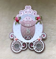 This luxury handmade, Princess Carriage shaped birthday card is what dreams are made of. Die-cut from heavy weight pink satin mirri card, and embellished with silver glitter buttons, faux pink crystal gems an. Princess Cards, Upcoming Festivals, Princess Carriage, Satin Ribbon Roses, Disney Cards, Handmade Birthday Cards, Princess Birthday, Handmade Design, Disney Princesses