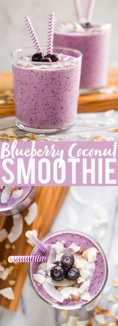 Smoothie Recipes - This Blueberry Banana Coconut Smoothie is a great easy breakfast or snack. Coconut milk, bananas, blueberries, almond butter and yogurt blend together to make a flavor and protein packed smoothie! Smoothie Bowl Vegan, Coconut Milk Smoothie, Banana Coconut, Juice Smoothie, Smoothie Drinks, Fruit Juice, Toasted Coconut, Coconut Water, Strawberry Banana