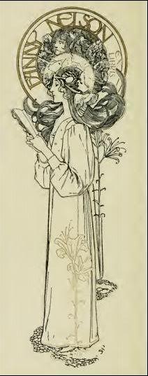 Ex Libris bookplate - Fanny Nelson - art nouveau