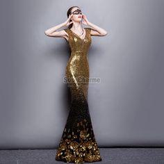robe pour ceremonie pailletée longue sirène couleur or et noir dégradé le bas ornée de fleurs