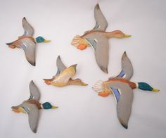 Vintage Flying Duck Wall Art, Painted Wooden Ducks, Plaques ...