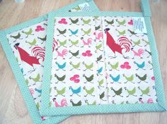 Quilted Pot Holders Chickens and Roosters  Set of by BellStitches