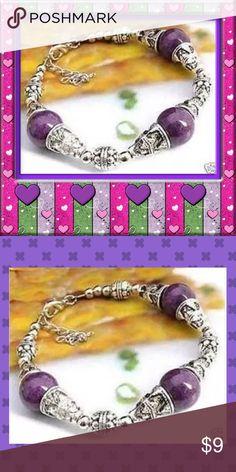 "💜NEW Tibet Silver & Purple Bead Cuff Bracelet 💜NEW Tibet Silver & Purple Bead Cuff Bracelet  Length: 7.5"" plus Chain Extender Clasp Closure Jewelry Bracelets"