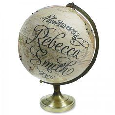 "Custom ""Adventures"" Pushpin Vintage Globe"