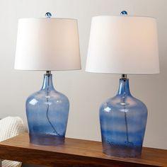 ABBYSON LIVING Azure Blue Glass Table Lamp (Set of 2)