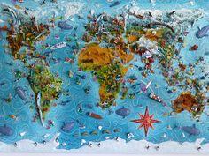 Sara Drake - Large World Map - 3D map mixed media, papier mache and balsa wood