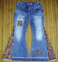 Pantalones vaqueros joya Paisley Hippie campana inferior OOAK