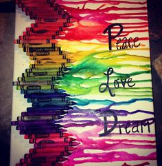 """Melted crayon art """"Peace Love Dream"""""""