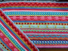 This is fun! Inspired by little woolies mixed striped blanket, (on her blog page). I will will give you the link below,  http://littlewoollie.blogspot.com/2012/08/mixed-str...