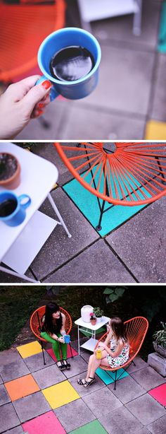 Looking for a fun and unique way to bring a little color into your backyard? Check out this easy painted patio tile tutorial from Elsie @elsiecake. Before painting, Elsie primed her stone tiles with KILZ Primer to protect the color from damage caused by the outdoors.
