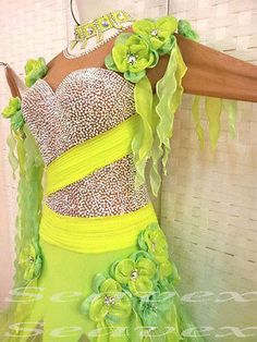Ballroom Tango Standard Waltz Dance Dress US 8 UK 10 Skin Two Green Flowers