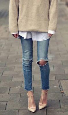 Skinny jeans Z Cavaricci Jeans – modilys Looks Street Style, Looks Style, Trend Fashion, Look Fashion, Unique Fashion, Fall Fashion, Fashion Ideas, Fashion Updates, Blue Fashion