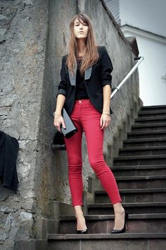 Red and black (by No Life Till Leather .) http://lookbook.nu/look/4022514-Red-and-black