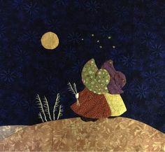 花布狸狸拼布画—望月 第3步