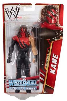"WWE Kane Wrestle Mania Heritage Figure - Series #26 by Mattel. $17.99. From the Manufacturer                World Wrestling Entertainment Superstar Figure Collection: Bring home the action of the WWE. Kids can recreate their favorite matches with these 7"" figures created in Superstar scale. Figure offers extreme articulation, amazing accuracy and authentic details like arm bands and tattoos. This WWE Collection line consists of 72 different figures each year, with..."