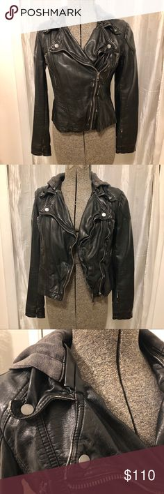 OUTERWEAR FLASH SALE, TODAY ONLY!! Free Ppl Jacket Free People vegan leather moto jacket with detachable sweatshirt hood. Jacket is distressed black and hood is distressed gray. Excellent condition, no flaws. Size zero, fits size smalls well. Such a beautiful & unique jacket! Offers welcome:) Free People Jackets & Coats