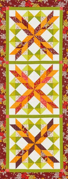 Careful color placement in the three blocks emphasizes an X and O pattern. Color choices give this table runner a decidedly fall look.
