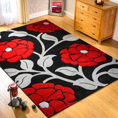 Hand Carved Vine Rugs in Black and Red Red Colour Palette, Trendy Colors, Vivid Colors, Colours, Room Color Schemes, Living Room Area Rugs, Stair Rugs, Floor Decor, Floral Rug