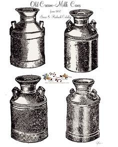 Free graphics Milk-cream cans Free Printable Art, Printable Recipe Cards, Printable Crafts, Old Milk Cans, Vintage Milk Can, Recipe Scrapbook, Black And White Prints, Old Images, Antique Illustration