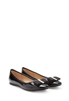 Faux Patent Leather Bow Flats | FOREVER21 - 2052739266