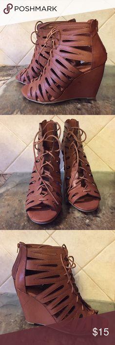 MIA gladiator wedge! MIA open toe gladiator wedge - never worn! Mia Shoes Wedges