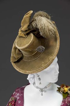 Lady's Hat with Hat Pin c1770 Unknown Maker Silk velvet, ostrich plume, cut steel Fashion Accessories 2006.10A-B