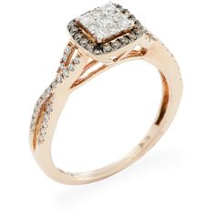 Aaraa Rose Gold & Diamond Halo Engagement Ring ($550) ❤ liked on Polyvore featuring jewelry, rings, no color, red gold ring, round cut rings, wide rings, band rings and rose gold jewelry