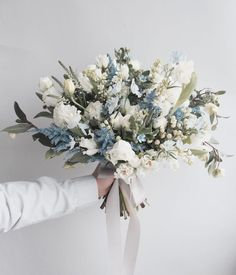 Wedding trends 2018 - Monochrome, grey and silver wedding - cool grey blue brida. - Wedding trends 2018 – Monochrome, grey and silver wedding – cool grey blue bridal bouquet wedding flowers Bridal Bouquet Blue, Blue Wedding Flowers, Blue Bridal, Bride Bouquets, Bridal Flowers, Flower Bouquet Wedding, Floral Wedding, Wedding Colors, Bouquet Flowers