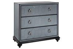 "Wilder 36"" Mirrored Chest, Smokey Gray"